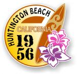 Huntington Beach 1956 Surfer Surfing Design Vinyl Car sticker decal  95x98mm